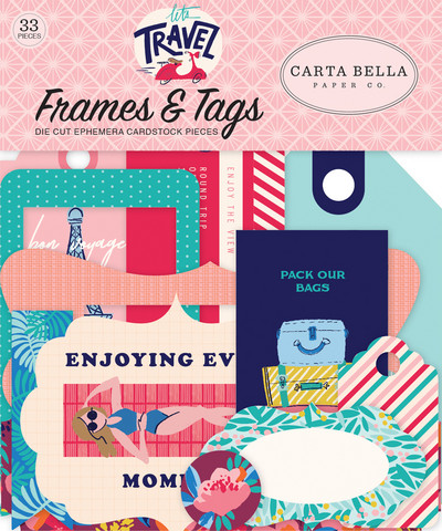 Carta Bella - Let`s Travel Frames And Tags Ephemera, Leikekuvia, 33 kpl