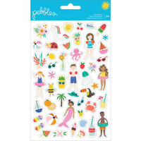 American Crafts - Pebbles Oh Summertime Clear Stickers, Tarrasetti