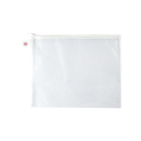 Avery Elle - Zippered Vinyl Mesh Pouch, 10''x8'', White-Small