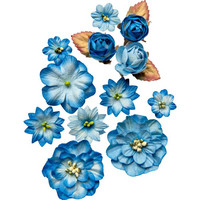 49 and Market - Country Blooms, Cobalt, Paperikukkasetti