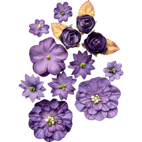 49 and Market - Country Blooms, Violet, Paperikukkasetti