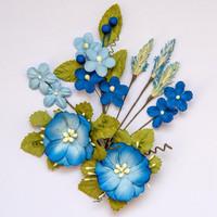 49 and Market - Wildflowers, Cobalt, Paperikukkasetti