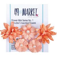 49 and Market - Flower Mini, Tangerine, Paperikukkasetti