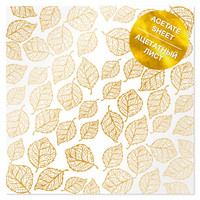 Fabrika Decoru - Acetate gold foiled sheet, Golden Leaves, 12
