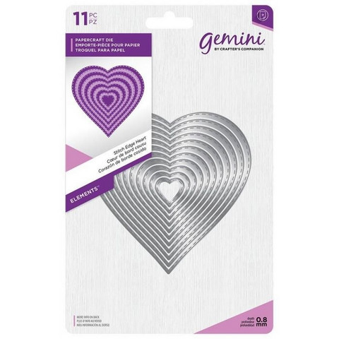 Gemini - Elements Dies, Stitch Edge Heart, Stanssisetti