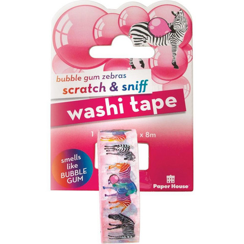 Paper House - Scratch & Sniff Washi Tape, Bubble Gum Zebras, Washiteippi
