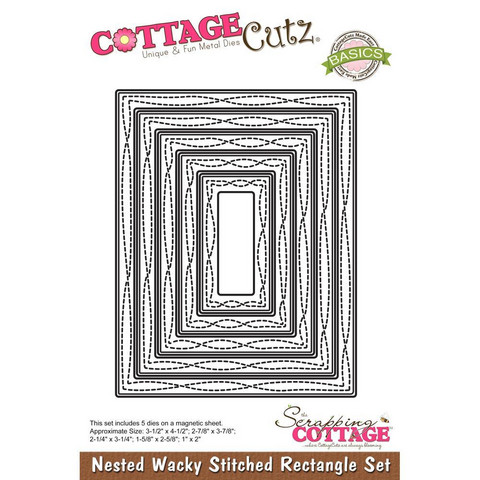 Cottage Cutz - Wacky Stitched Rectangle, Stanssisetti