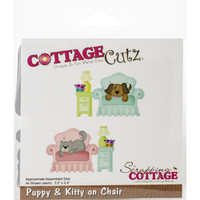 Cottage Cutz - Puppy & Kitty On Chair , Stanssisetti