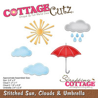 Cottage Cutz - Stitched Sun, Clouds & Umbrella, Stanssisetti