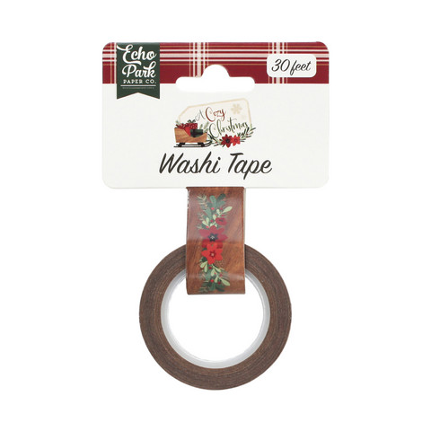 Echo Park - A Cozy Christmas Decorative Tape, 15mmx9m, Floral Swag