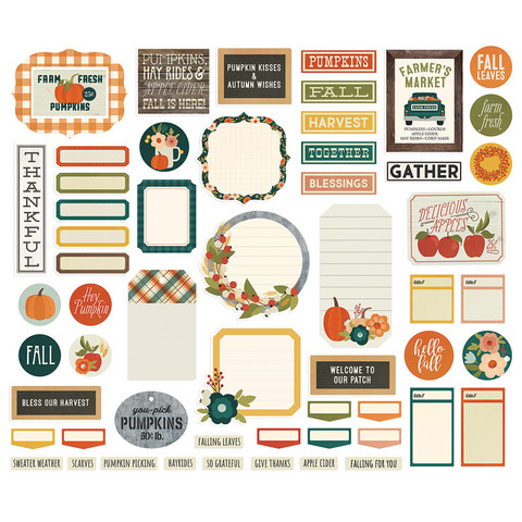 Simple Stories - Fall Farmhouse Journal Bits & Pieces Die-Cuts, 57 osaa