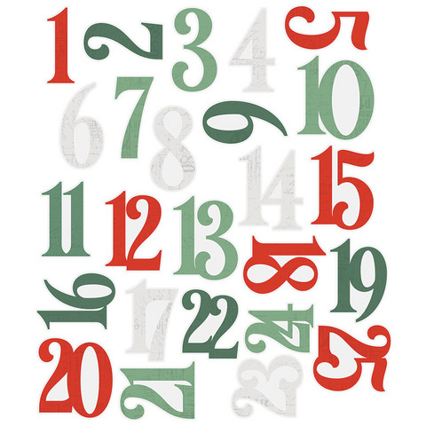 Simple Stories - Country Christmas, Number Pocket Pieces, 25 osaa