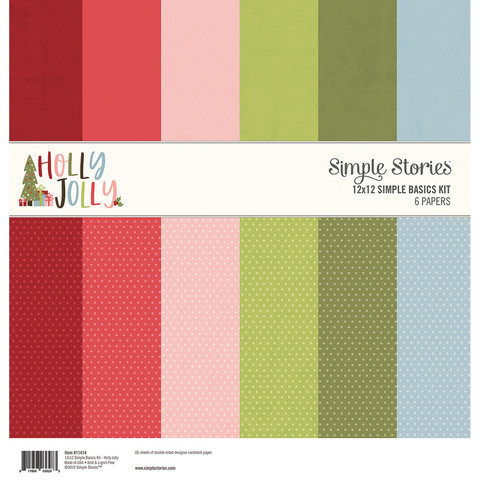 Simple Stories - Holly Jolly, Basic Double-Sided Paper Pack 12