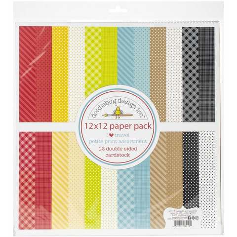 Doodlebug - I Heart Travel, Petite Prints Double-Sided Paper Pack 12