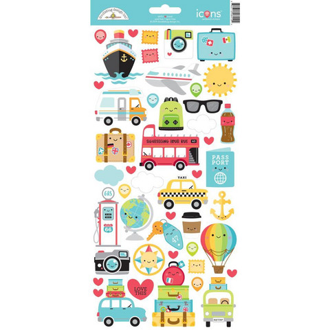 Doodlebug - I Heart Travel Icons, Cardstock Stickers