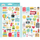 Doodlebug - I Heart Travel Icons, Mini Cardstock Stickers, 2 arkkia
