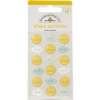 Doodlebug - I Heart Travel, Sprinkles Adhesive Glossy Enamel Shapes, Hello Sunshine, 18 osaa
