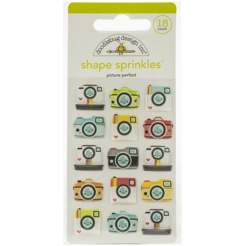 Doodlebug - I Heart Travel, Sprinkles Adhesive Glossy Enamel Shapes, Picture Perfect, 15 osaa