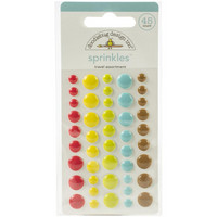 Doodlebug - I Heart Travel, Sprinkles Adhesive Enamel Shapes, Travel Assortment, 45 osaa
