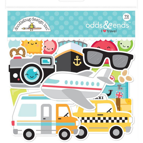 Doodlebug - I Heart Travel, Odds & Ends Die-Cuts, 72 osaa