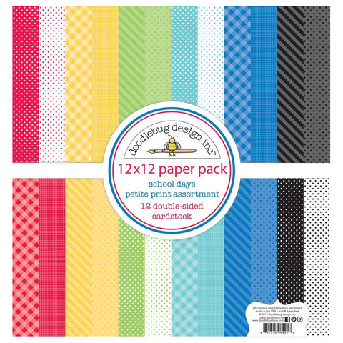Doodlebug - School Days, Petite Prints Double-Sided Paper Pack 12