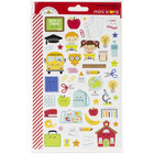 Doodlebug - School Days Icons, Mini Cardstock Stickers, 2 arkkia