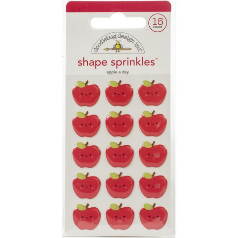 Doodlebug - School Days, Sprinkles Adhesive Glossy Enamel Shapes, Apple A Day, 15 osaa