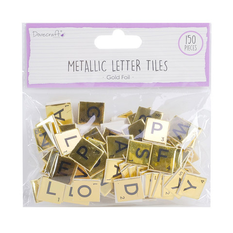 Dovecraft - Gold Chipboard Letter Tiles, 150 kpl