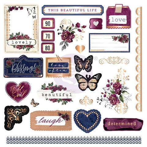 Prima Marketing - Darcelle Cardstock Ephemera and Stickers, 126 osaa