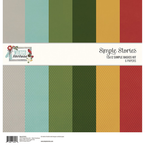 Simple Stories - Winter Farmhouse Basics Double-Sided Paper Pack 12