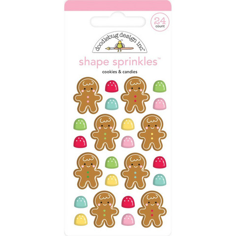 Doodlebug - Christmas Magic, Sprinkles Adhesive Enamel Shapes, Cookies & Candies, 24 osaa