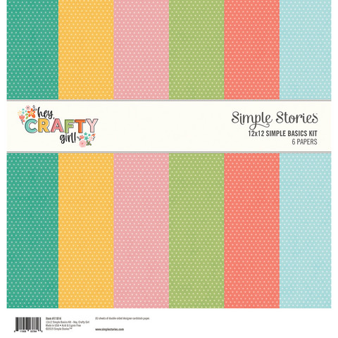 Simple Stories - Hey Crafty Girl, Basic Double-Sided Paper Pack 12
