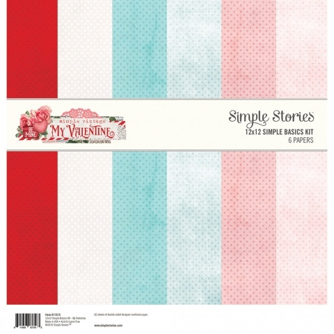 Simple Stories - My Valentine, Basic Double-Sided Paper Pack 12