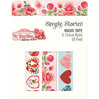 Simple Stories - My Valentine, Washi Tape, 3 rullaa