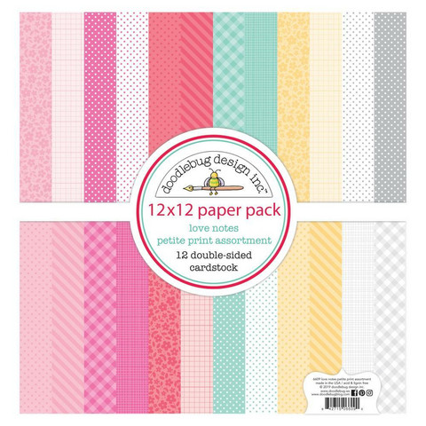 Doodlebug - Love Notes, Petite Prints Double-Sided Paper Pack 12