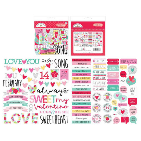 Doodlebug - Love Notes, Odds & Ends Chit Chat Die-Cuts, 76 osaa