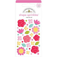 Doodlebug - Love Notes, Sprinkles Adhesive Enamel Shapes, Roses Are Red, 36 osaa