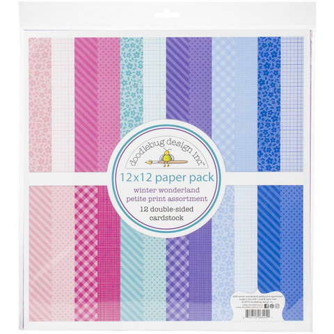 Doodlebug - Winter Wonderland, Petite Prints Double-Sided Paper Pack 12