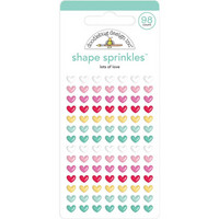 Doodlebug - Love Notes, Sprinkles Adhesive Enamel Shapes, Lots Of Love, 98 osaa