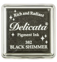 Tsukineko - Delicata Pigment Ink, Black Shimmer, Leimasinmuste