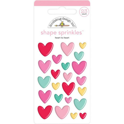 Doodlebug - Love Notes, Sprinkles Adhesive Enamel Shapes, Heart To Heart, 23 osaa