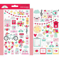 Doodlebug - Love Notes Icons, Mini Cardstock Stickers, 2 arkkia