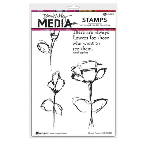 Dina Wakley Media - Cling Stamps, Always Flowers, Leimasetti