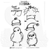 Dina Wakley Media - Cling Stamps, Scribbly Holiday Birdie 2, Leimasetti