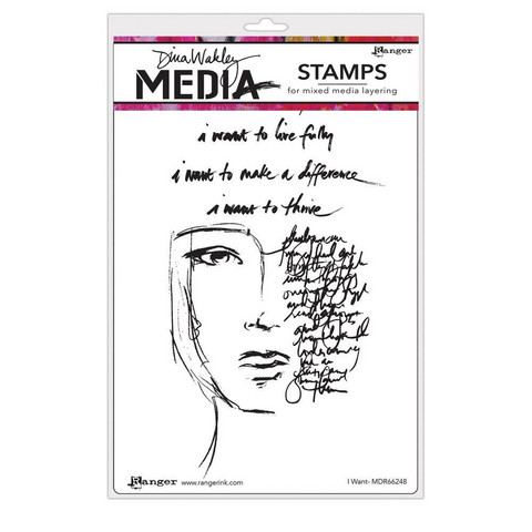 Dina Wakley Media - Cling Stamps, I Want, Leimasetti