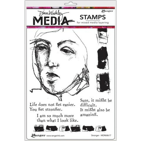 Dina Wakley Media - Cling Stamps, Stronger, Leimasetti