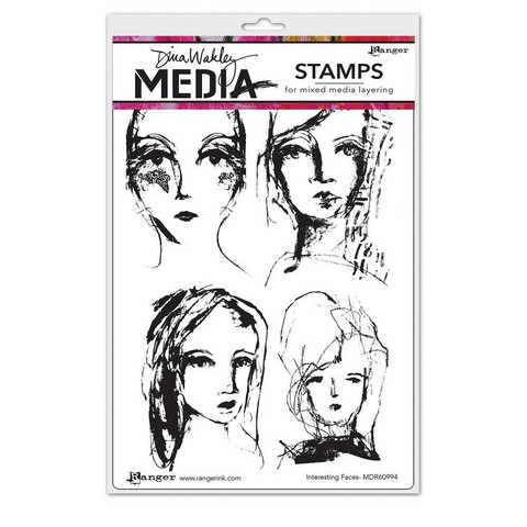 Dina Wakley Media - Cling Stamps, Interesting Faces, Leimasetti