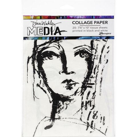 Dina Wakley Media - Collage Tissue Paper, Faces, 20 arkkia