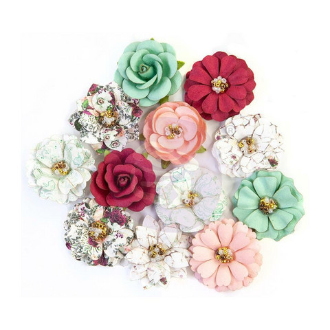 Prima Marketing - Pretty Mosaic Mulberry Flowers, Turquoise