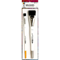 Dina Wakley -  Stiff Bristle Brush, Pensseli, 2 kpl